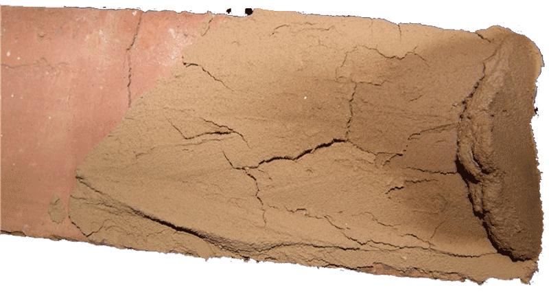Нанесенная на кирпич глина