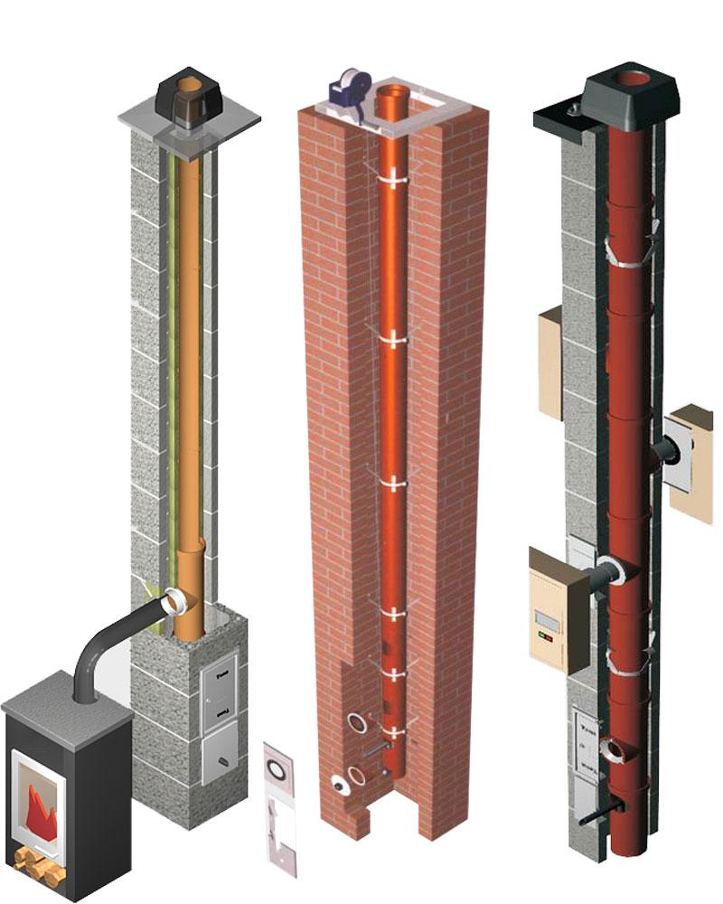 Примеры дымоходов из керамической трубы