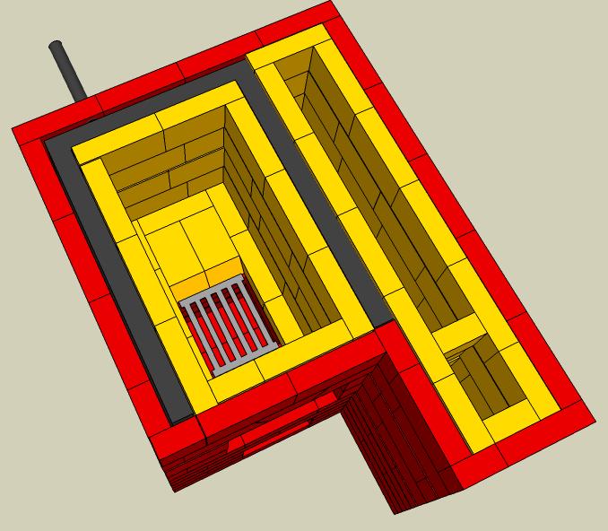 Футеровка с использование шамотного кирпича, схема